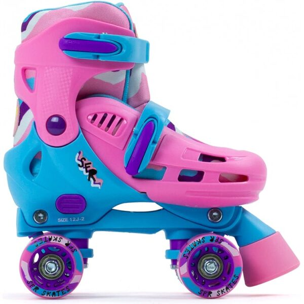 patine cu rotile reglabile albastru cu roz